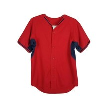 Majestic Button Up Baseball Jersey ~ Sz L ~ Red & Navy Blue ~ Short Sleeve - $24.74