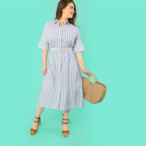 Cotton Fabric Striped Pattern Batwing Sleeve Women Plus Size Dress Butto... - $29.40