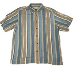 Tommy Bahama Adult Size Large Blue Brown Linen Tencel Blend Button Up Shirt - $17.78