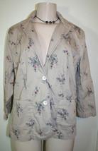 INKED & FADED Womens Sz L Khaki Beige Floral Print Cotton Casual Jacket - $10.13