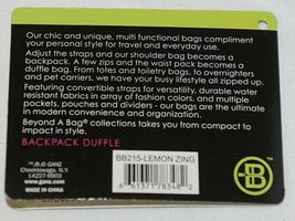 GANZ Brand Beyond A Bag Collection BB215 Lemon Zing Color Backpack Duffle image 10