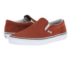 Vans Classic Slip On (Embossed Suede) Sequoia Brown Skate Shoes Mens Siz... - $64.95