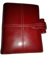 Filofax Mini Cross Wallet Personal Organizer Planner Italian Burgundy Le... - $29.00