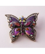 Antiqued Copper Tone Pink Purple Rhinestone Enamel Butterfly Filigree Pi... - $9.90