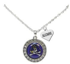 An item in the Sports Mem, Cards & Fan Shop category: Custom East Carolina Pirates Silver Necklace Choose Alumni or Family Charm ECU