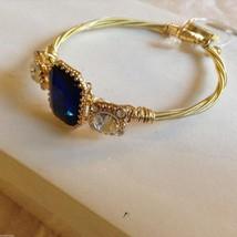 String Theory Guitar Strings Gold Bracelet w/ a Royal Blue Stone, Size 7 1/2 image 2