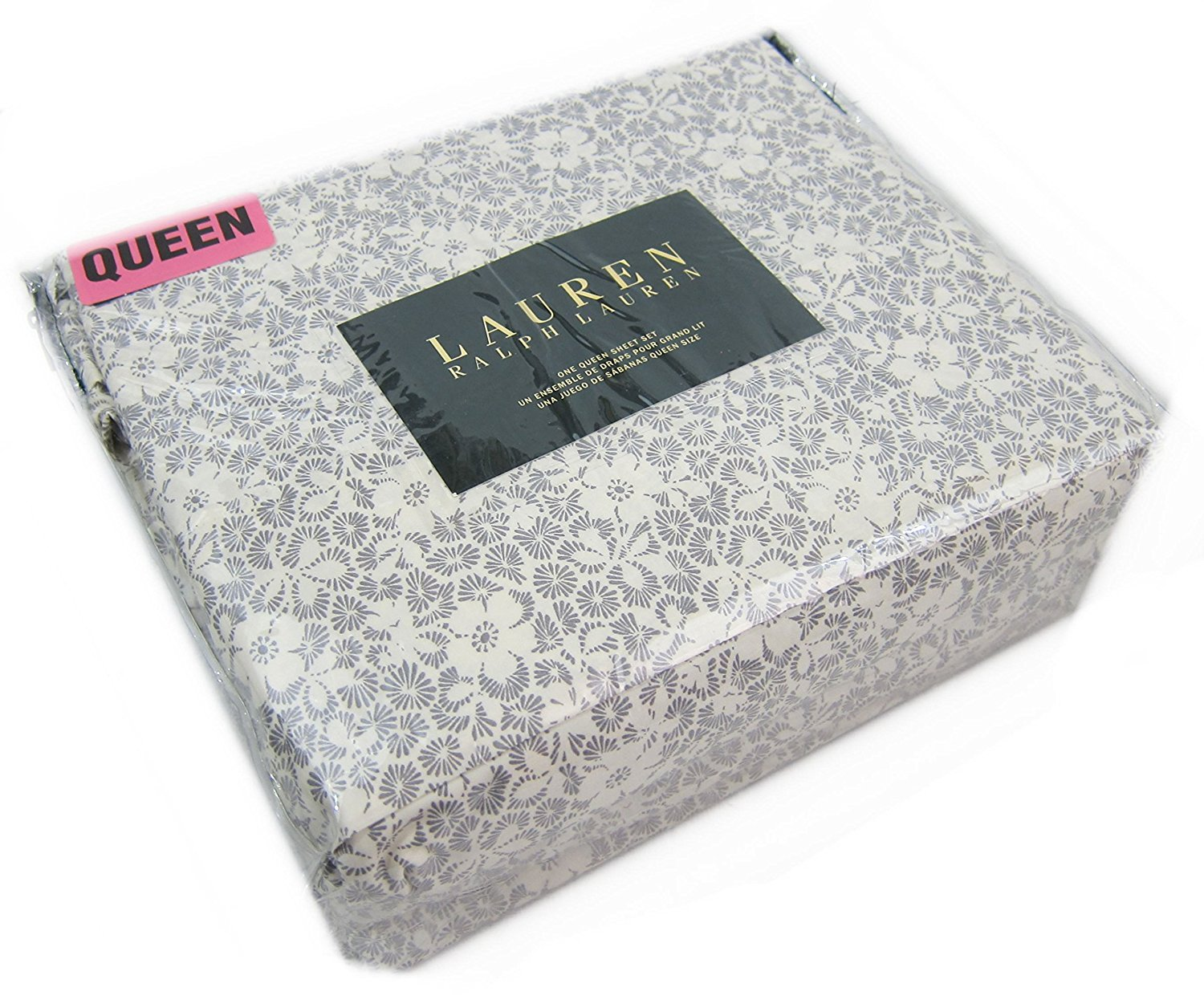 Ralph Lauren Gray and Cream Floral Sheet Set Queen