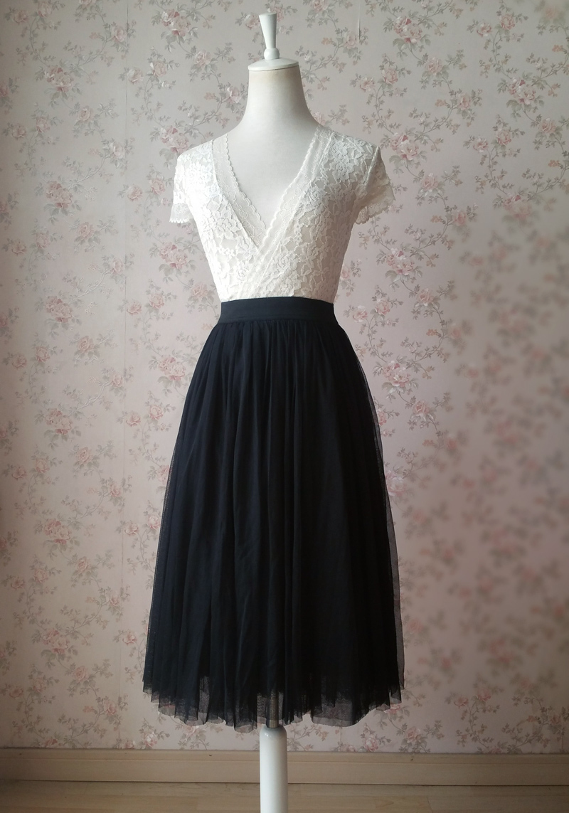 Women BLACK Midi Tulle Skirt Black Plus Size Tulle Midi Skirt Outfit Party Skirt
