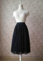 Women BLACK Midi Tulle Skirt Black Plus Size Tulle Midi Skirt Outfit Party Skirt image 1