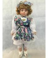 Studio 5 Collection Porcelain Doll Floral Garden Green Eyes Blond Hand P... - $13.74