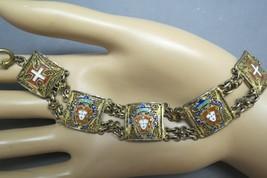 Antique Shield Bracelet Red Enamel Links Gold Tone Metal Maltese Cross F... - $48.50