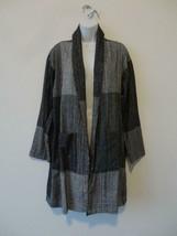 NWT EILEEN FISHER Black White Organic Cotton Shawl Collar Kimono Jacket S/M - $145.49