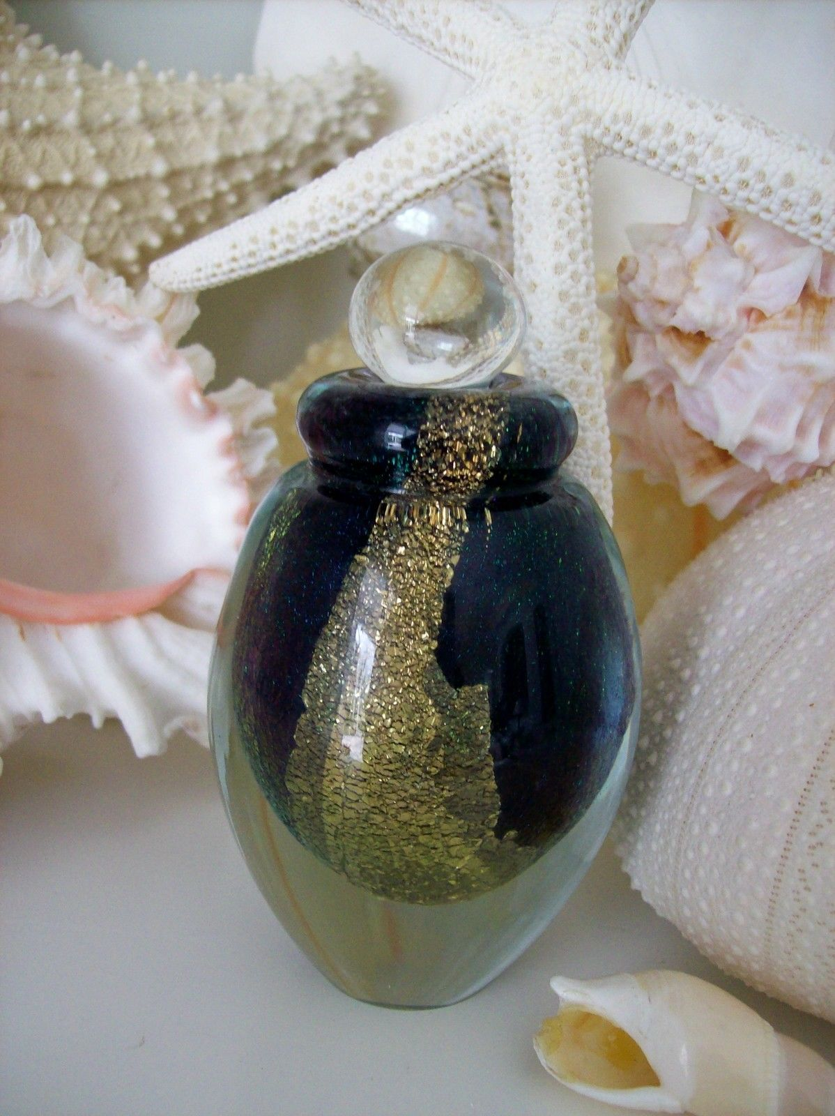 "Primary image for MINT Eickholt Art Glass Perfume Bottle~Dauber~Signed~2007~Gold Leaf~3.75"" Tall"