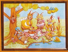 1983 Creative Circle Easter Bunnies Picnic Embroidery 3D Wall Art Kit 18... - $17.99