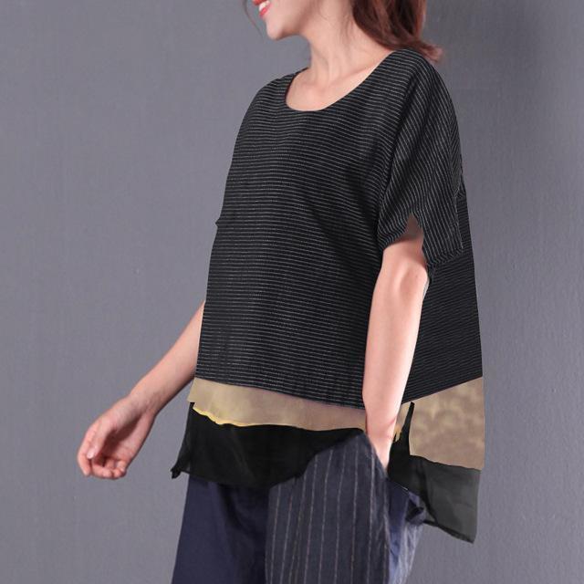 2018 Summer Plus Size ZANZEA Women Striped Blouse Short Sleeve O Neck Vintage Sh