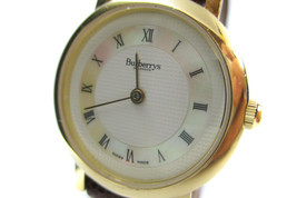 Authentic BURBERRYS 6000L White Dial Leather Band Quartz Ladies Watch BW... - $128.00