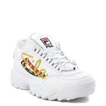 Damen FILA Disruptor II Premium Script Athletic Schuhe Weiß Gold Neu 2 - $109.95
