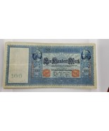 GERMANY LOT OF 10 BANKNOTES 100 MARK 1910 VERY RARE CIRCULATED RED SEAL - $55.71