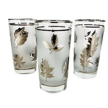 "3 Libbey Silver Leaf Glasses Frosted 5 1/2"" Platinum Tumbler Foliage MCM Barware - $14.60"