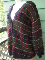 Susan Bristol Fuzzy Mohair Wool Acrylic Lined Cardigan Sweater Plaid Lar... - $33.24