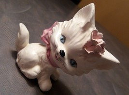 Vintage Lefton Kitten Kitty Cat Salt or Pepper Shaker White with Pink Bo... - $5.94