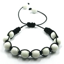 SHAMBALLA BRACELET WHITE AGATE FACETED 10mm SPHERES, COTTON CORD image 1