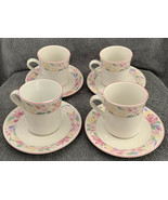 Vintage China Pearl Stoneware 3815 Pink Flowers Teacups & Saucers Set of 4 - $26.99