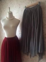 Women Gray Irregular Midi Tulle Skirt Gray Bridesmaid Midi Tulle Skirt Plus Size image 6