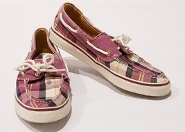 SPERRY Top Sider Women's Sz 8M Plaid Canvas Multicolor Slip On Boat Shoes - $27.86