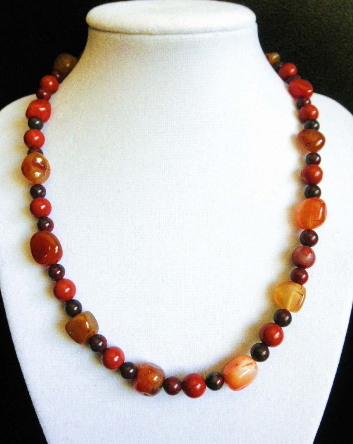 "Primary image for 18"" genuine jasper and agate stone southwestern style necklace"