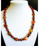 "18"" genuine jasper and agate stone southwestern style necklace - $105.00"