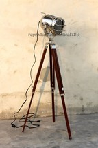 Nautical Modern Spot Light Floor Lamp Marine Wooden Tripod Studio Search... - $43.60