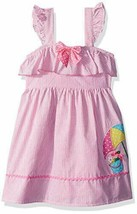 NWT Nannette Girls Beach Umbrella Pink Seersucker Sleeveless Dress Size 4 - $10.88