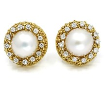 Mabe Pearl Diamond Round Clip-On Earrings in 18k Yellow Gold ( 1.30 ct tw ) - $2,597.00