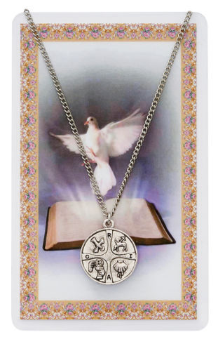"Primary image for RICA Catholic Medal 24"" Necklace Rite Christian Initiation Adults w Holy Card"