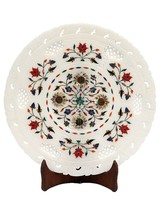 """9"""" White Marble Filigree Plate Round Marquetry Inlay Floral Halloween Gi... - $110.71"""