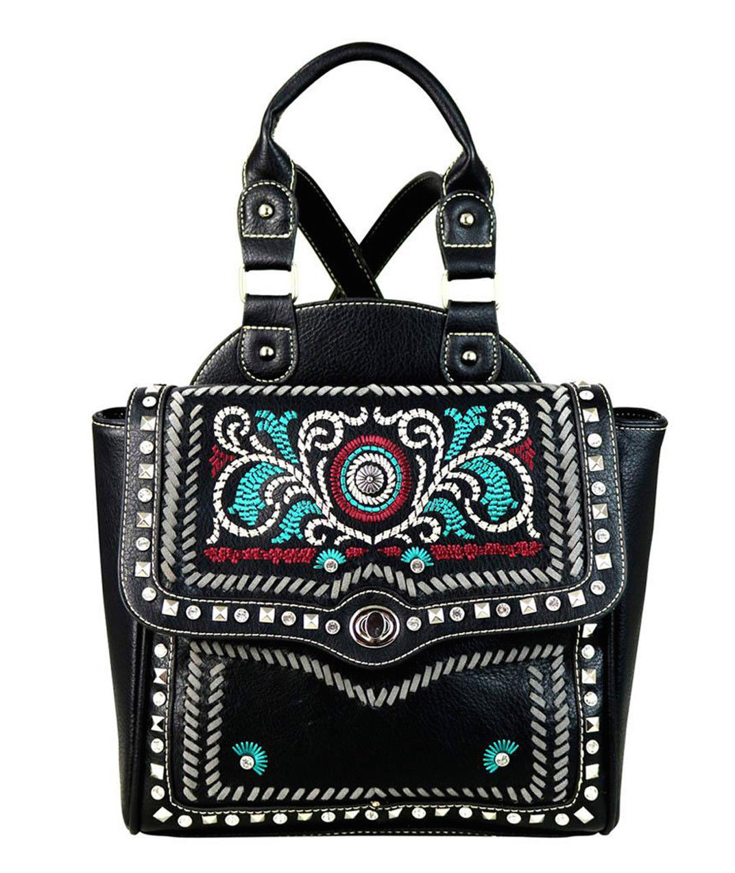 Western Embroidered Concho Backpack Purse Montana West Black
