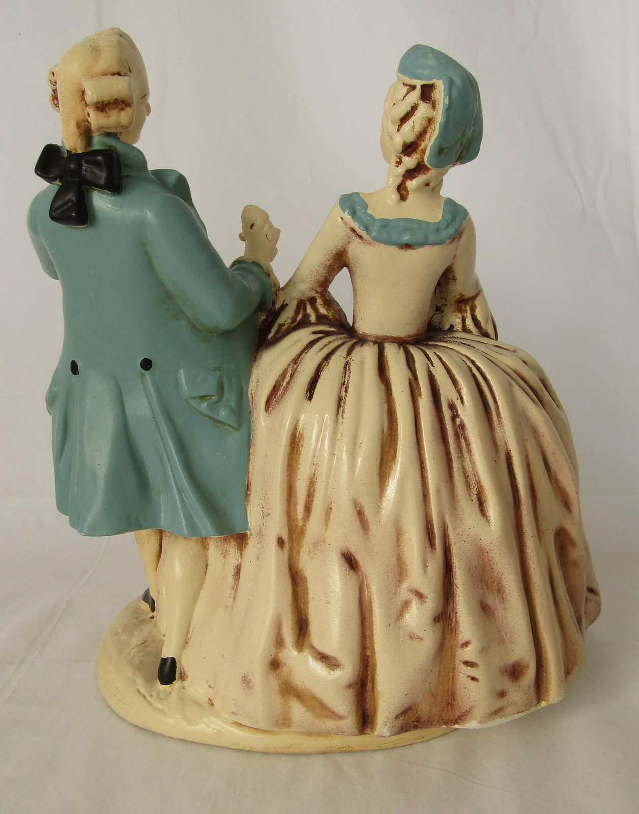 French Period Dress Dancing Couple Small Statue, Elegant Home Decor