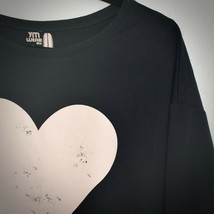 YM Wear USA Black Pink Heart Sweatshirt M Womens Cotton Sweater Long Sle... - $24.74
