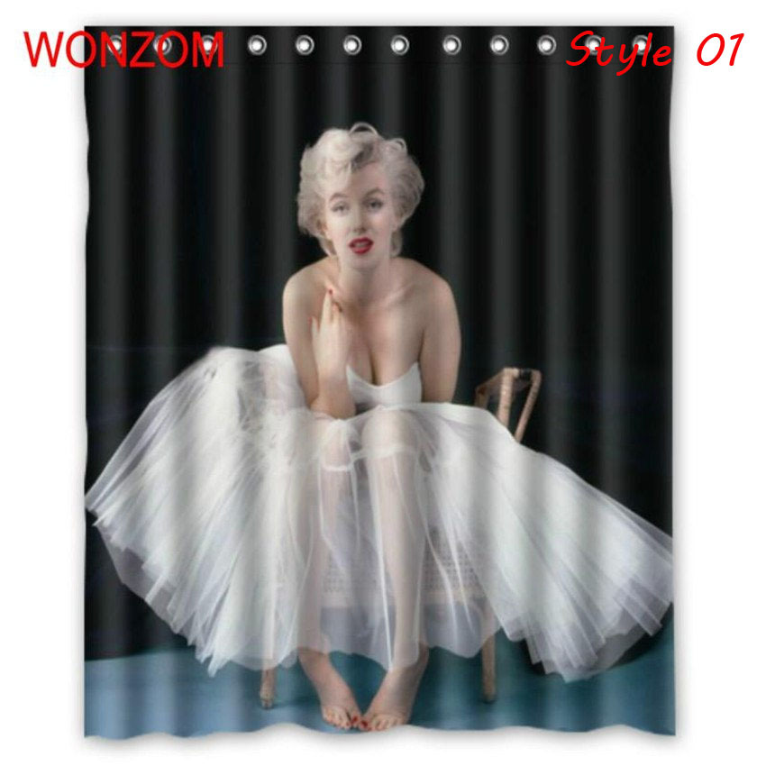 Monroe waterproof shower curtain girl bathroom decor belle decoration cortina de bano 2017 14626