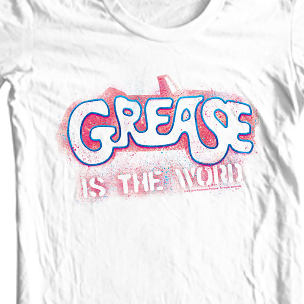 Grease is the Word T shirt retro 70s musical movie 100% cotton white tee PAR135