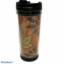 Rare 2002 Starbucks 16 oz Tumbler Orange Fall  Leaves Coffee Tea Cup Tra... - $22.44