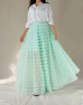 Mint Green Tiered Tulle Skirt High Waisted Tiered Long Tulle Skirt Outfit  image 5
