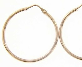 18K ROSE GOLD ROUND CIRCLE EARRINGS DIAMETER 25 MM WIDTH 1.7 MM, MADE IN ITALY image 1