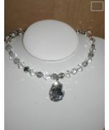 Vintage Swarovski Crystal Choker Necklace with large Teardrop - $35.59