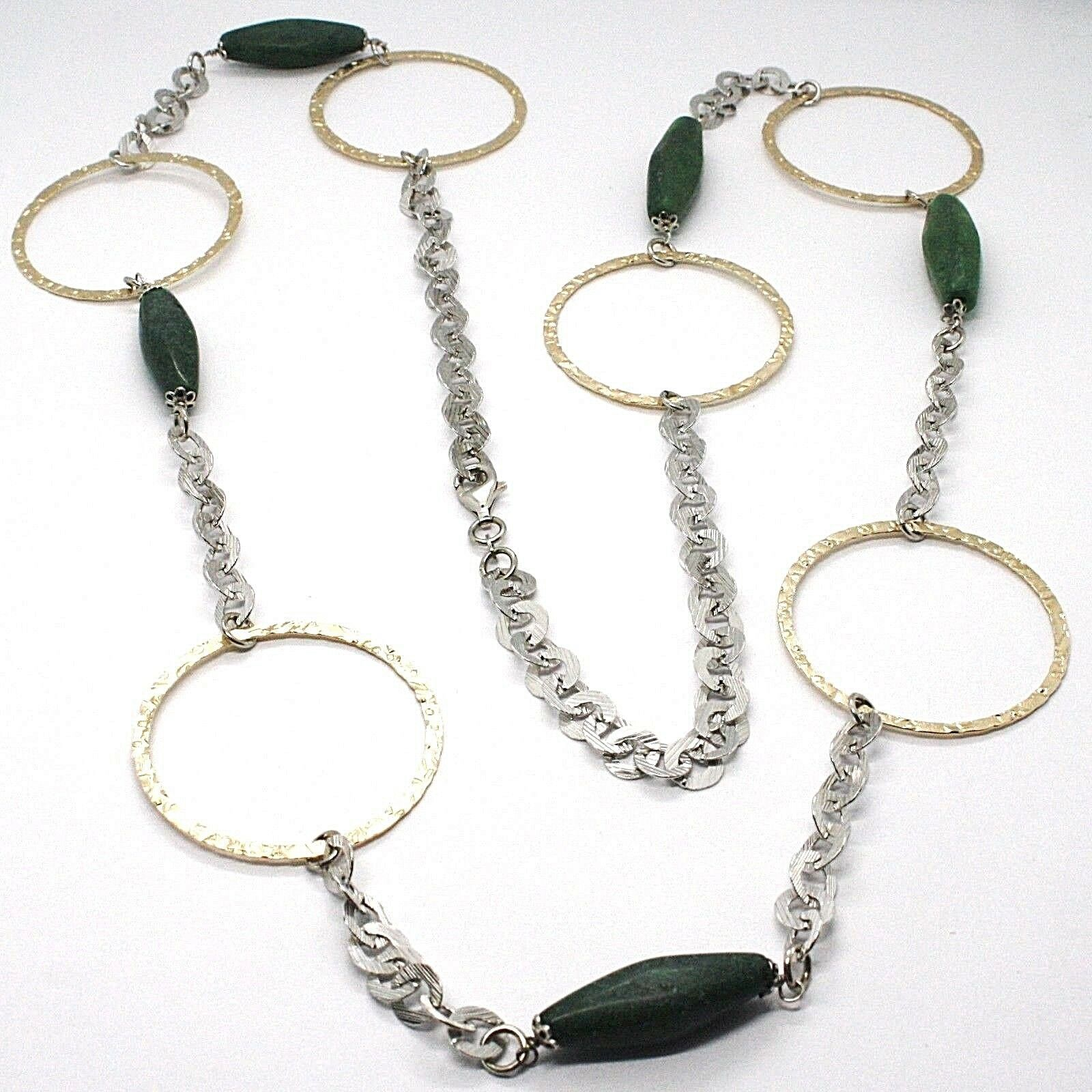 Silver 925 Necklace,Jade Green,Circles Yellow,100 cm, Rolo ' Hammered
