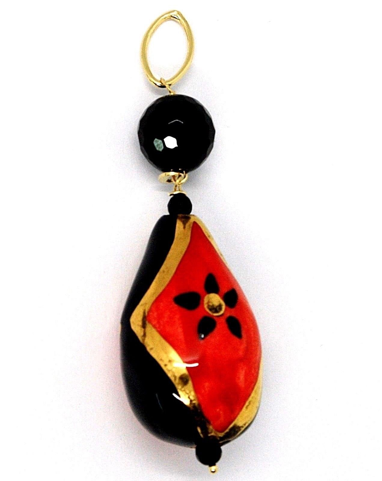 18K YELLOW GOLD PENDANT, ONYX, BLACK AND RED CERAMIC DROP HAND PAINTED IN ITALY