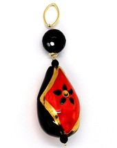 18K YELLOW GOLD PENDANT, ONYX, BLACK AND RED CERAMIC DROP HAND PAINTED IN ITALY image 1
