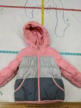 Toddler Girls Size 3T  Jacket Light Coat Hood Button Fleece Inside Oshkosh - $12.86