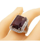 925 Sterling Silver - Large Amethyst & Topaz Square Cocktail Ring Sz 8 -... - $46.70